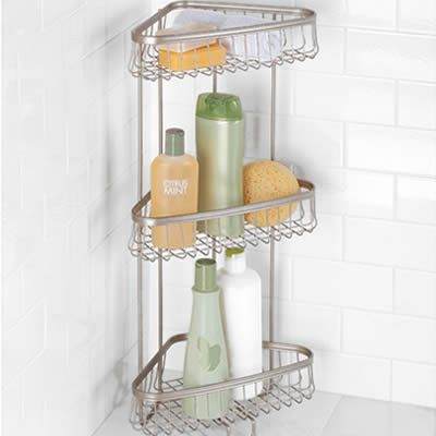 A threetier shower shelf made of stainless steel welded