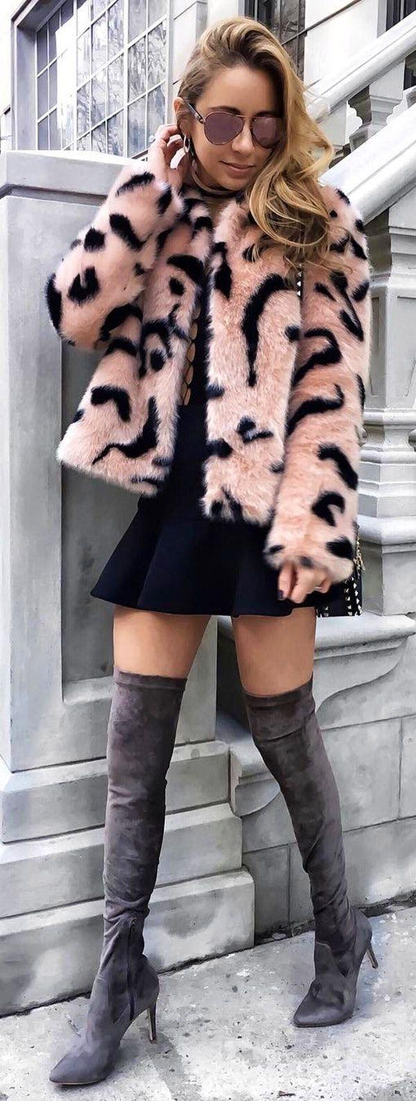 #winter #fashion / Pink Leopard Print Coat / Black Dress / Grey Velvet OTK Boots