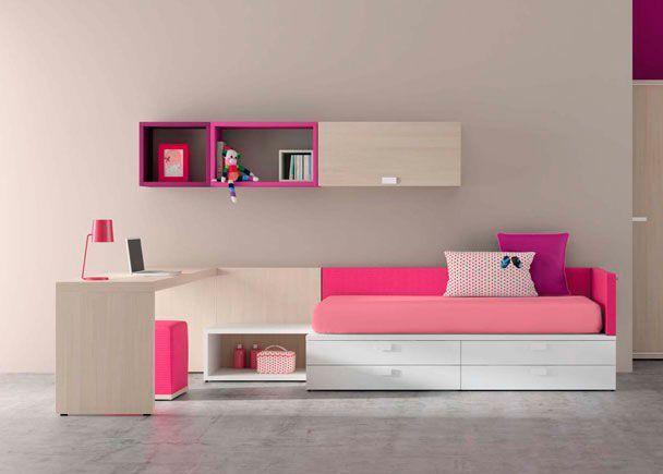 Habitación Infantil: Habitación Infantil de Líneas Rectas | Habitación juvenil de lineas rectas. La combinación de un tono claro que asemeja a la madera natur