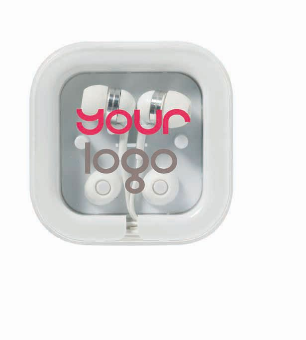 Small form factor Ear buds - High visibility Logo or corporate message.