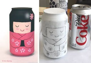 lata decorada con kokeshi mezclar la pintura con un poco de cola blanca para que se quede pegada al aluminio: