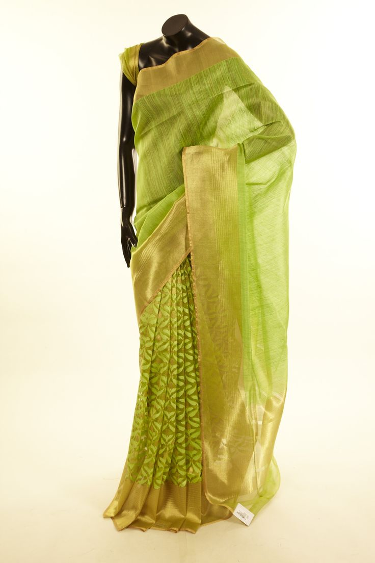 Banarsi- jute tissue net / tule fresh lime green saree with blouse