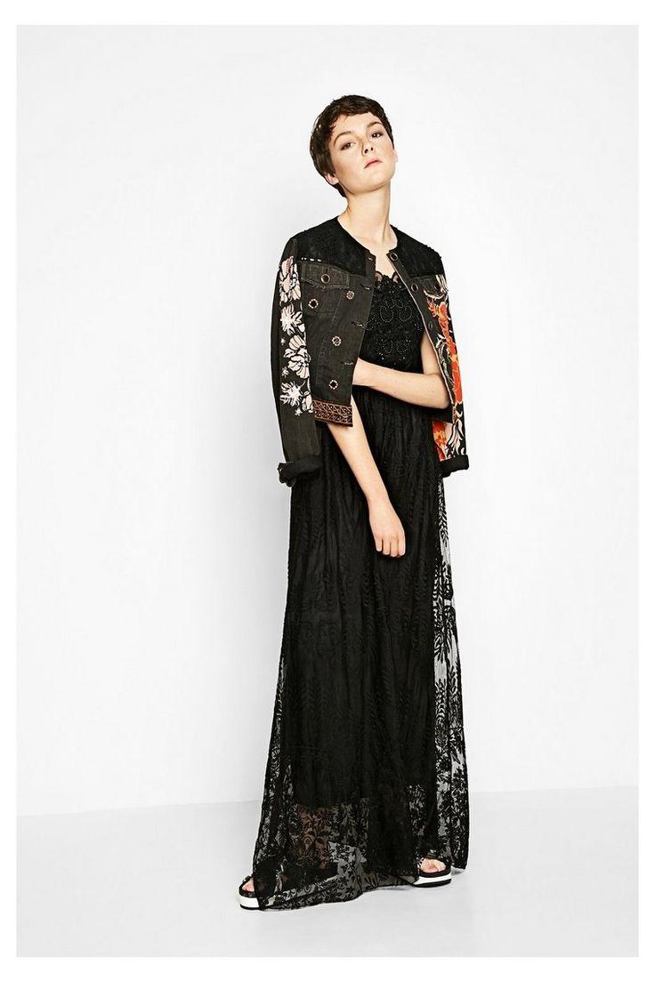 Vestido largo negro con encaje Alicia | Desigual.com 2000
