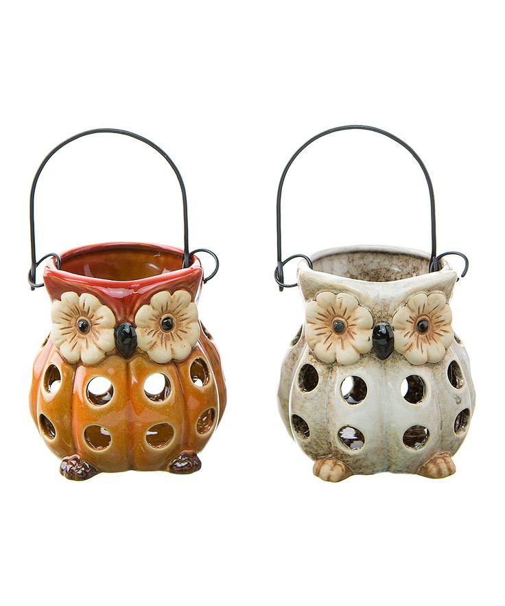 Owl Lantern Votive Holder Set