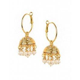 Hoop Jhumka Earrings with Pearl Drops by Shubhi Kansal | Shop now. #Luxe #Golden #Jewelry