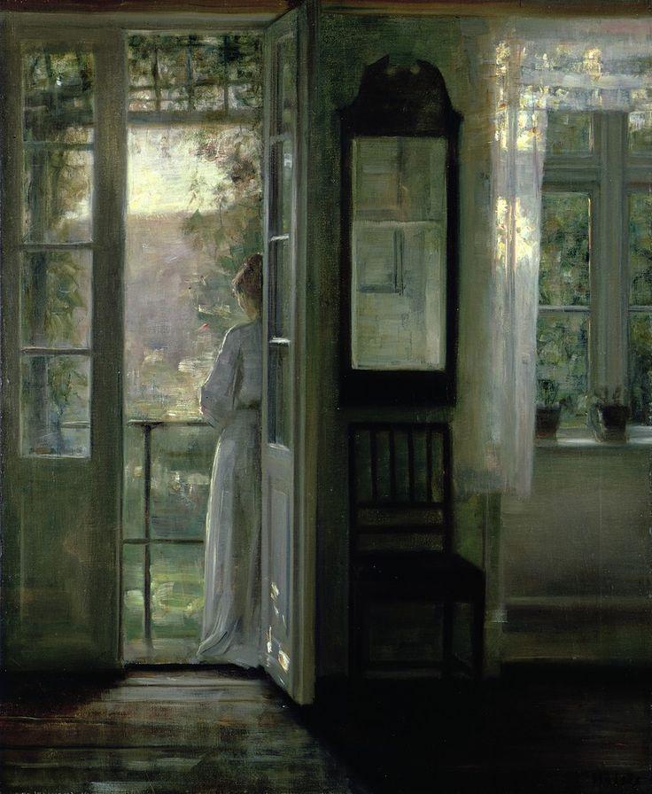 Girl Standing on a Balcony, Carl Vilhelm Holsøe