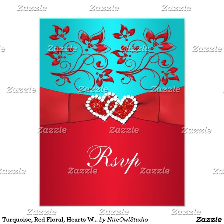 Turquoise Red Floral Hearts Wedding Reply Card #turquoise #red #floral #hearts #wedding #reply #card