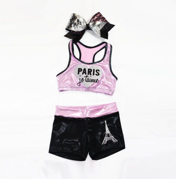 Paris Inspired workout set includes sports bra shorts by Lumare