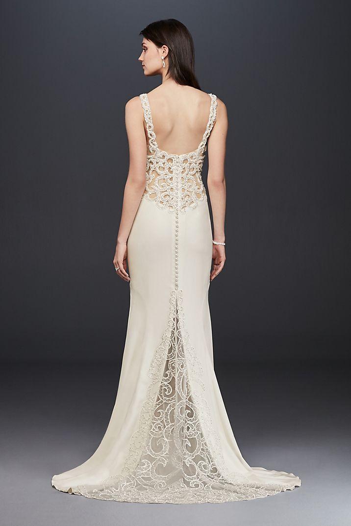 93c422aef1d7c Beaded Illusion and Crepe Sheath Wedding Dress Style SV771, Ivory, 4 ...