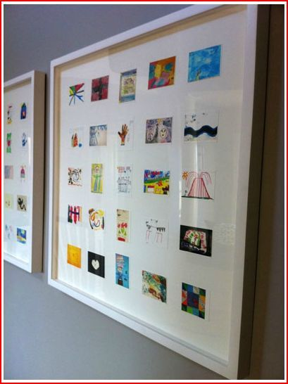 Photograph and shrink all your kids' drawings into one.