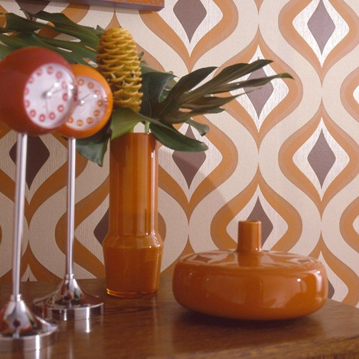 Trippy Orange Wallpaper by Graham and Brown