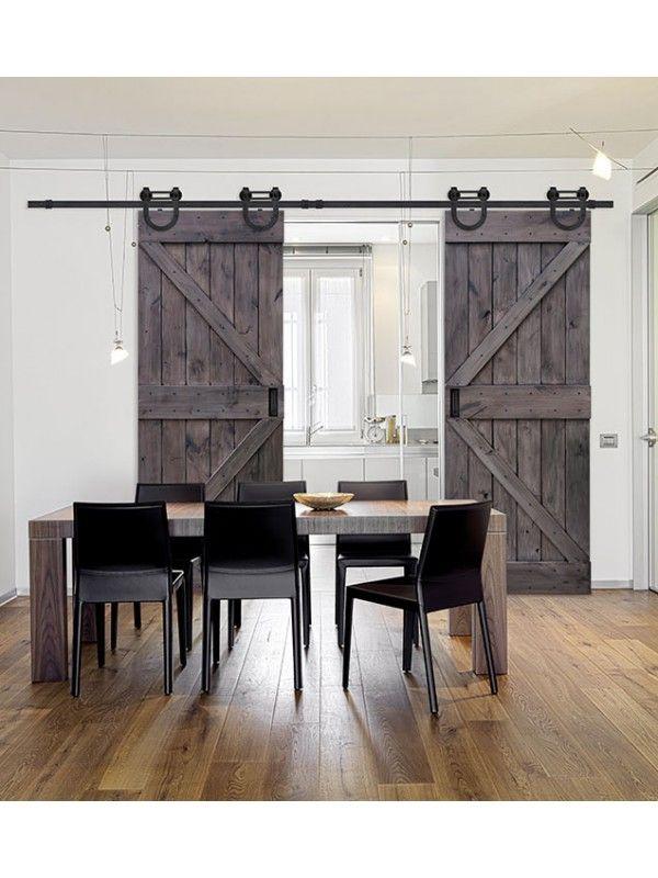 """Double Z Barn Door 8' 0"""" Tall - Knotty Alder Double Door"""