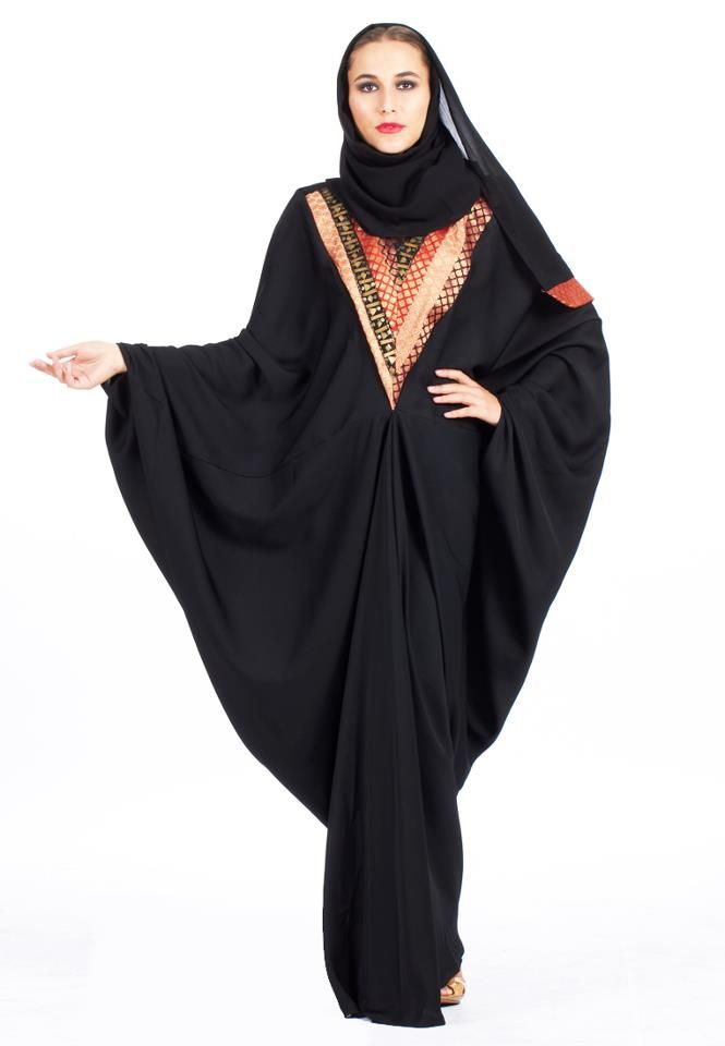 Black abaya with multicoloured design. Price:$120. Free shipping. Buy here: http://rbn.co/d687b3
