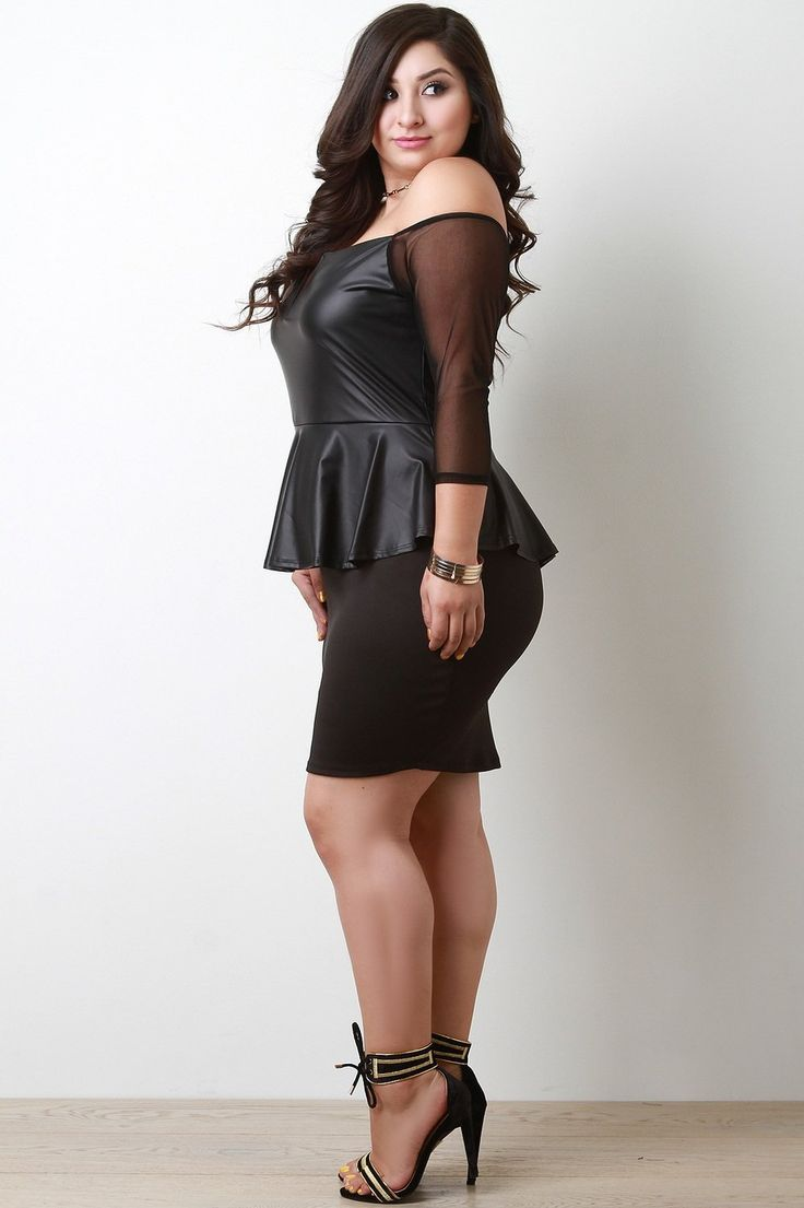 Twofer Vegan Leather Peplum Bodycon Dress, C$59.99