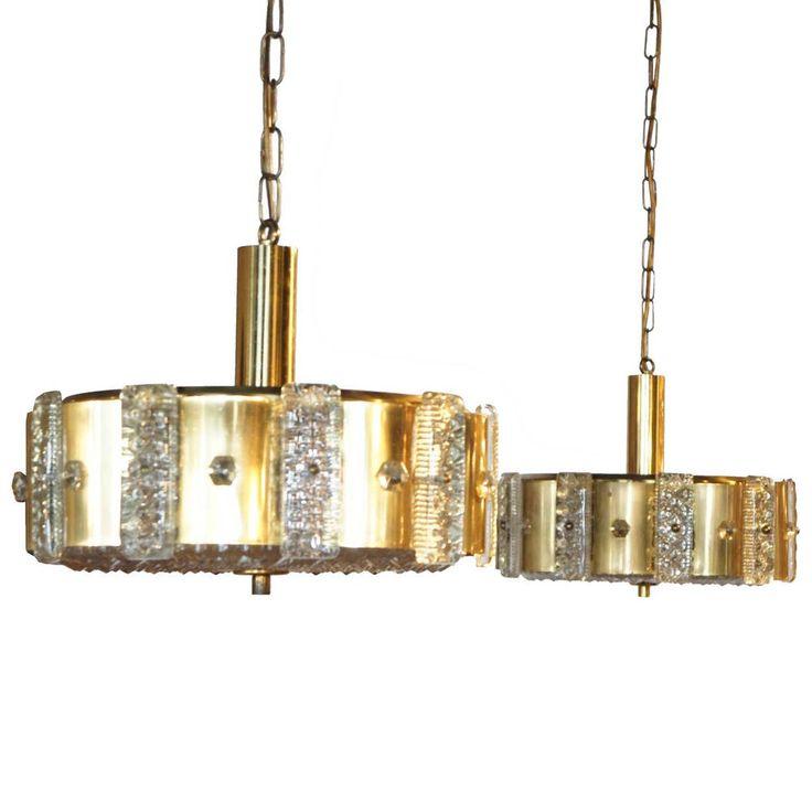 Pair of Vintage Danish Modern Vitrika Brass and  Cast Glass Ceiling Lights 1960 #Vitrika