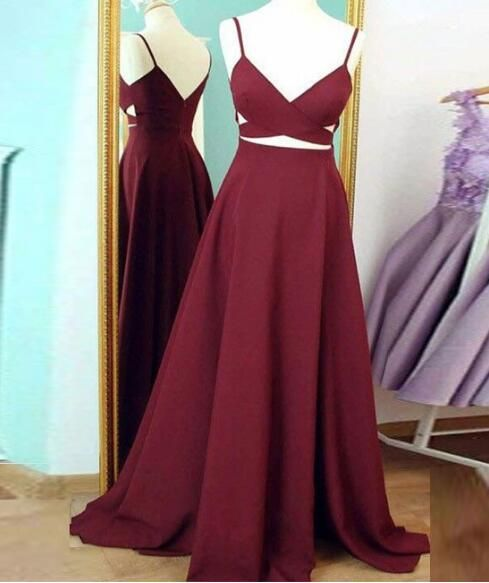 simple prom dress,v neck prom dresses,burgundy evening dress,long prom dress