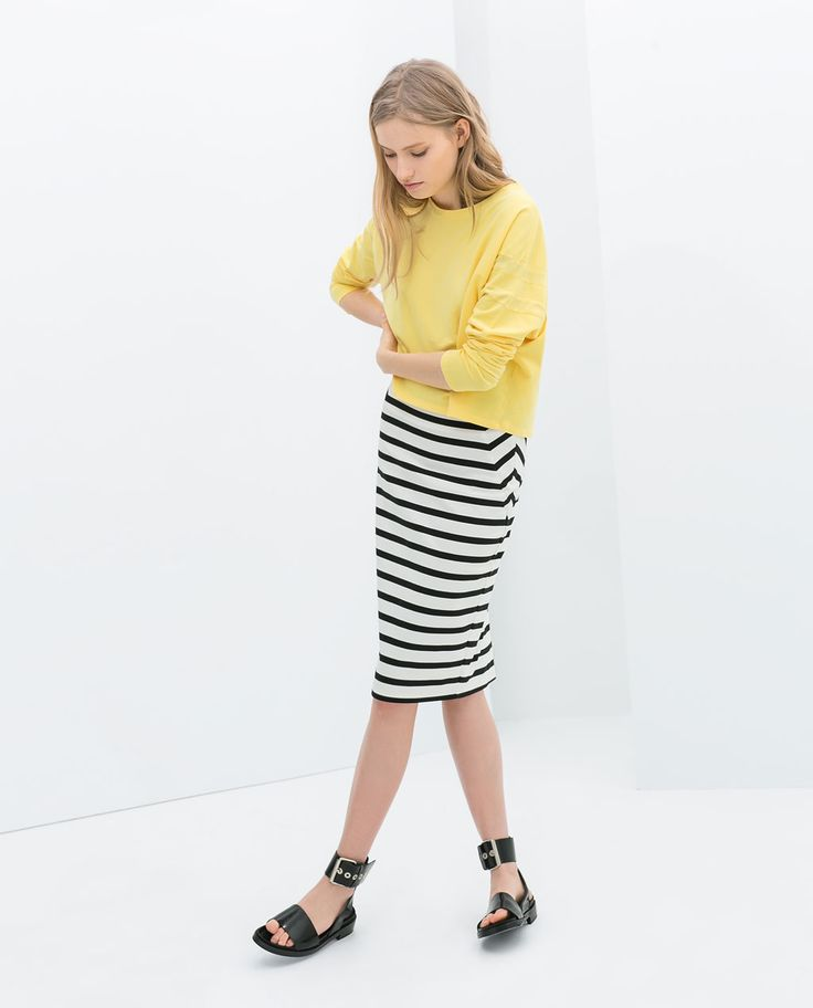 ZARA - NEW THIS WEEK - STRIPED TUBE SKIRT $50 BURBERRY-ESQUE