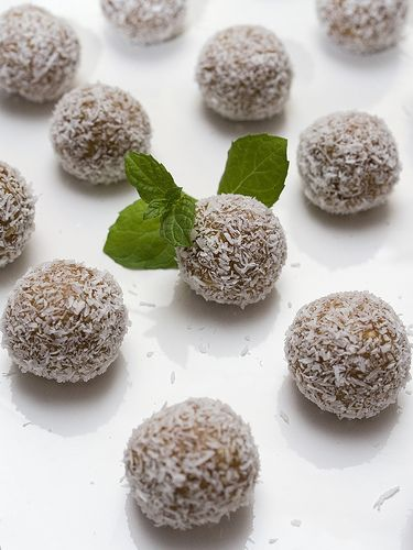 Chocolate (cacoa) and Cashew Bliss Balls:        1 cup of cashews blended until smooth (or you can cheat and buy cashew butter)      2 tablespoons of raw honey      1 tspn vanilla extract      8 dates (pitted and soaked for at least 4 hours)      2 tablespoons raw cacao powder      1 cup of desiccated coconut for coating