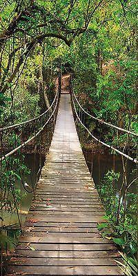 "CARTA DA PARATI FOTO ""Romantic Bridge TT2"" 86x200cm ponte verde fiume FOTOMURALI 2"