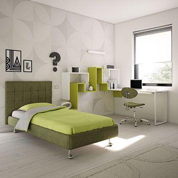Bedroom set - Chambre adolescent CAMERETTA KC 206, bookshelves DEDALO, olive green tone,  designed by MORETTI COMPACT, Italy