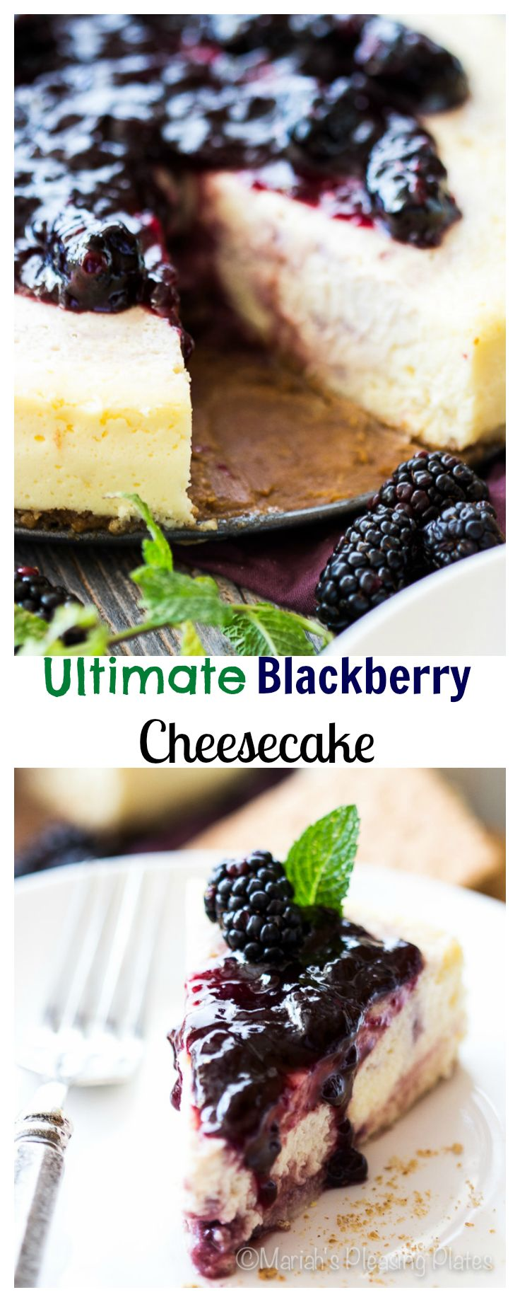 This thick and creamy treat is the Ultimate Double Blackberry Cheesecake, filled with blackberry swirls and a berry packed fresh fruit topping. This is one dessert that won't last long!