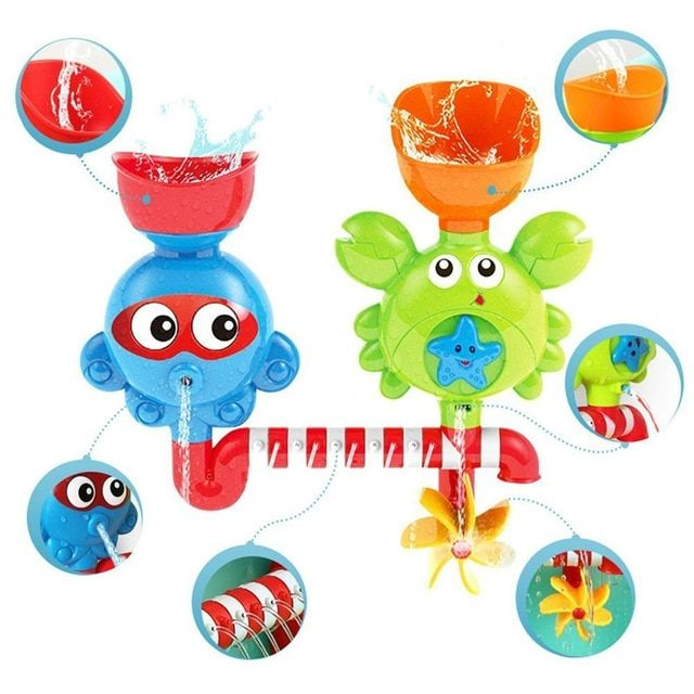 Baby Bath Waterfall Toys Stackable Cups Bathtub Water Spout Toddlers /& Babies