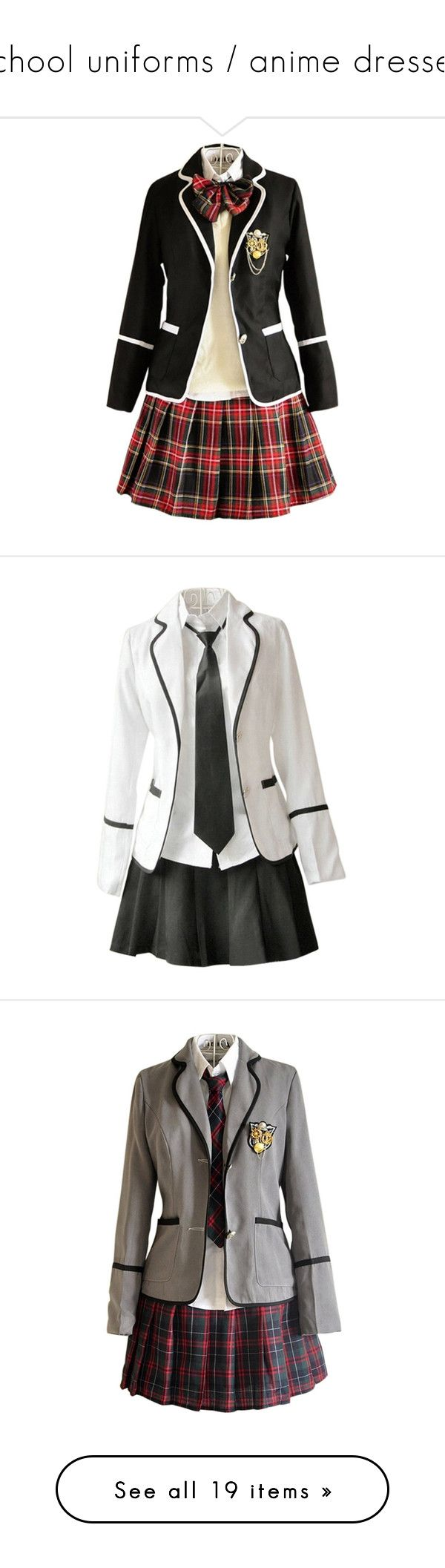"""school uniforms / anime dresses"" by demigod-wizard-hacked-elf ❤ liked on Polyvore featuring dresses, uniforms, cosplay, other, outfits, costumes, tops, costume, full outfits and uniform"