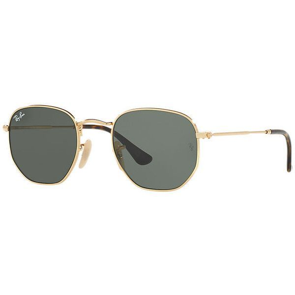 Ray-Ban Hexagonal Flat Gold Sunglasses, Green Lenses - Rb3548n ($150) ❤ liked on Polyvore featuring accessories, eyewear, sunglasses, gold, ray ban sunnies, hexagon glasses, gold glasses, flat-top sunglasses and green lens sunglasses