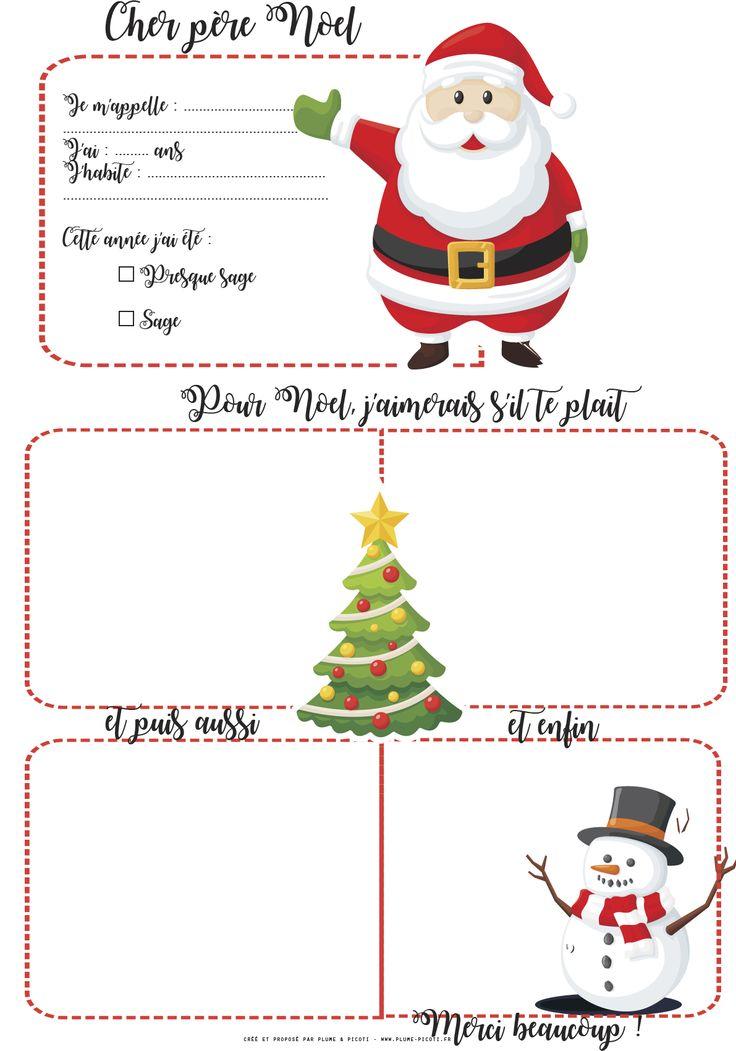 Lettre au père Noël à imprimer