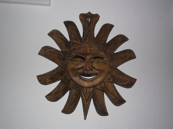 Annons på Tradera: Stor fin sol i trä träsol väggdekoration