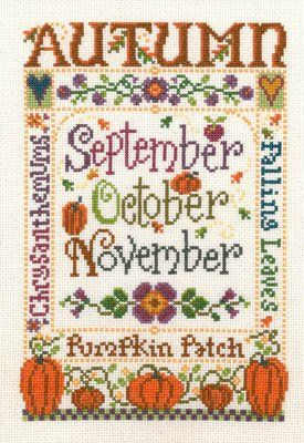 """This cross stitch pattern titled """"Autumn"""" is from Imaginating and is one of four designs depicting the seasons of the year.  Autumn features Chresanthemums, pumpkins and fall leaves - what else?  The cross stitch pattern is stitched with DMC"""