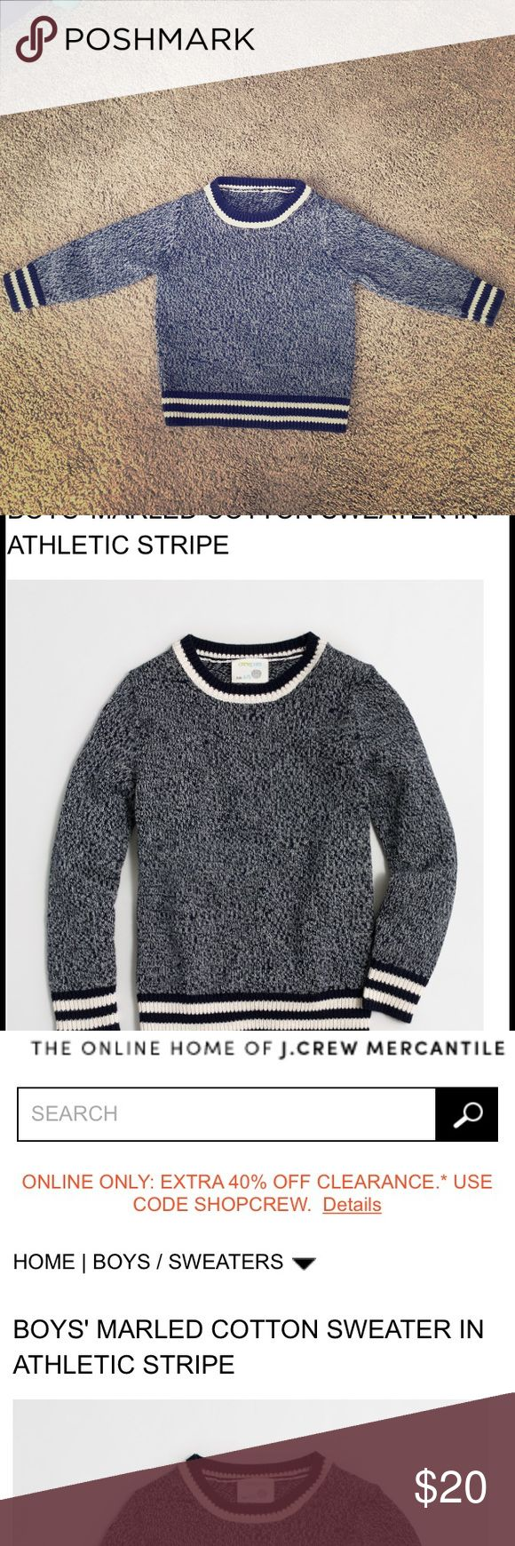 Crew neck baby sweater J crew factory boys cotton Navy and white marled sweater size 18- 24 months. I had taken the tags off because  it bothered his neck but you can look up the item number located on the side seam tag #style C8956 J. Crew Jackets & Coats
