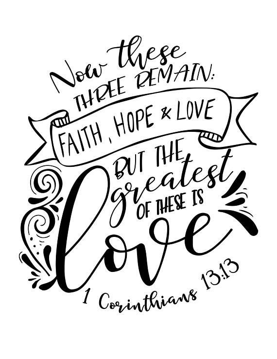 Calligraphy / Lettering Practice Bible Verse - Faith, Hope and Love ...