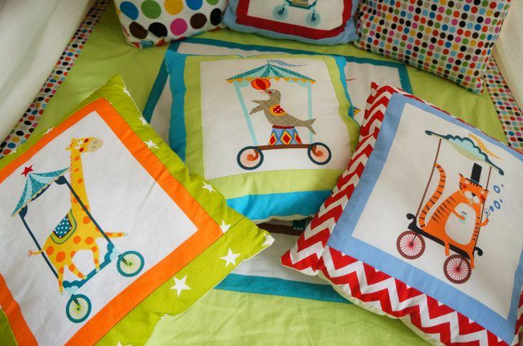 Tee pee pillows with circus animals