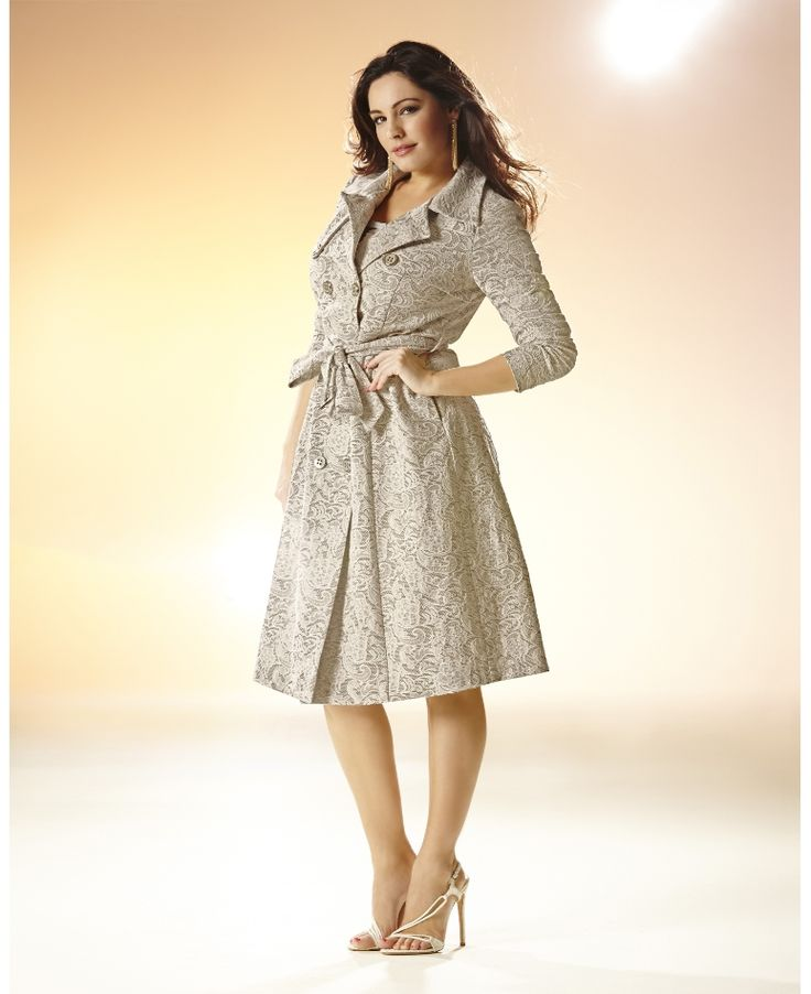 """""""Kelly Brook"""" Kelly Brook Belted Lace Trench Coat at Simply Be"""