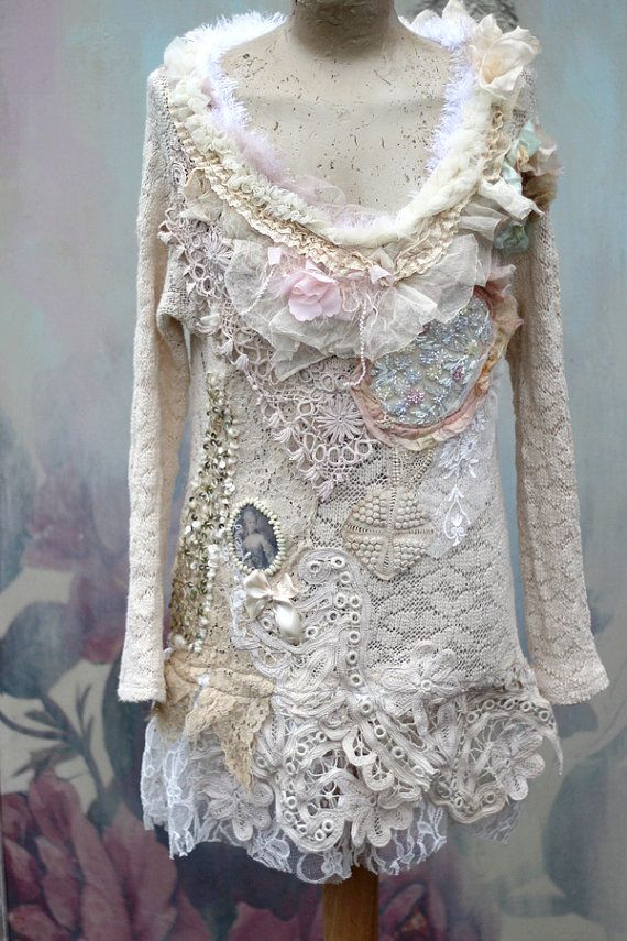 Frozen river knit,  -bohemian romantic , altered couture, embroidered and beaded details,old laces