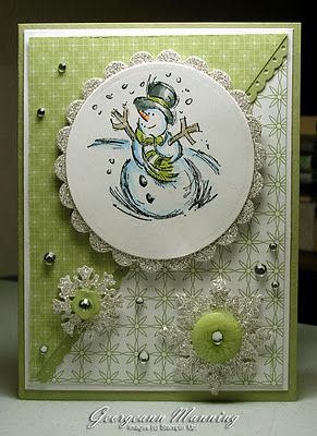 SU Card by Georgeann Manning. Cardstock: Pear Pizazz, Whisper White  Patterned Paper : Pear Pizazz  Stamps: Jolliest Time of the Year  Sliver Glitter Paper, Rhinestones, Subtles buttons