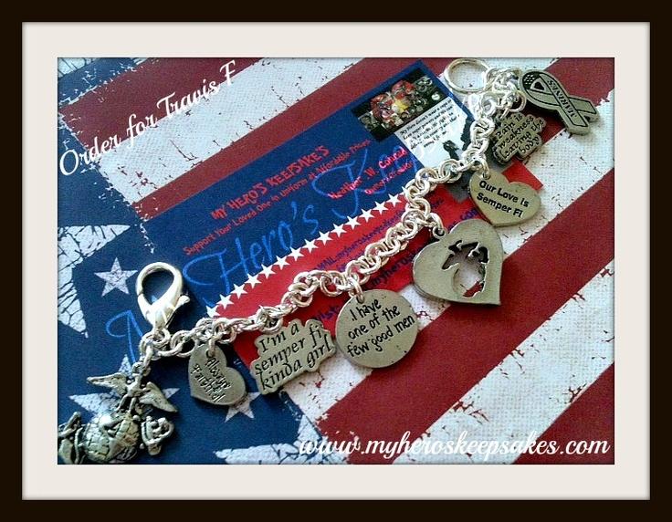 Marine Corps - Marine Girlfriend - Marine Wife - Marine Charm Bracelet - Charms Include: EGA, Always Faithful, Semper Fi Kinda Girl, Few Good Men, Missing EGA, Our love is Semper Fi, Pain is Weakness, Marine Support Ribbon - Item hand made by me - Retail: $15.00 plus shipping - For more info visit: www.facebook.com/myheroskeepsakes - Or to Order visit: www.myheroskeepsakes.com
