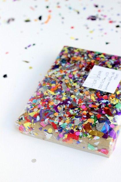 Confetti gift wrapping idea via @glitterguide