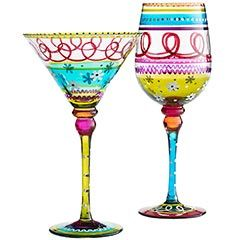 .: Fun Kitchens, Decor Ideas, Glasses Paintings, Festivals Stripes, Color, Pier One, Wine Glasses, Stripes Stemwar, Wineglass