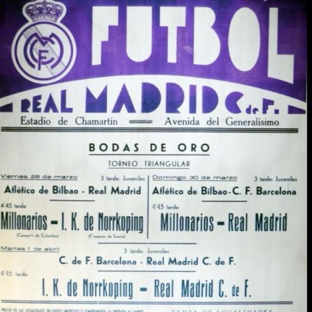 Bodas de oro Real Madrid (1952). Millonarios de Colombia derroto al Madrid en la final 4-2.
