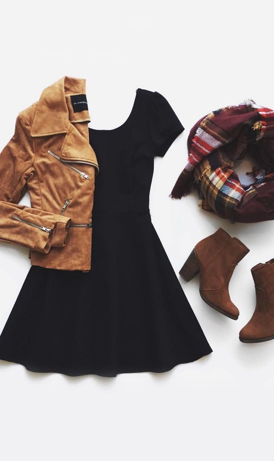 cute fall outfit with mini black dress, tan jacket and boots and scarf. Super cute