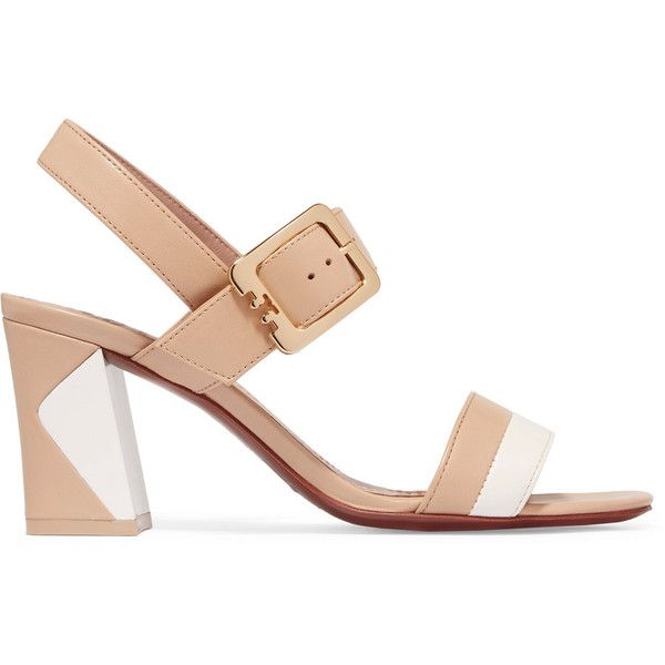 Tory Burch Palermo two-tone leather sandals (265 NZD) ❤ liked on Polyvore featuring shoes, sandals, neutral, high heel shoes, tory burch sandals, strappy sandals, leather strap sandals and leather sandals