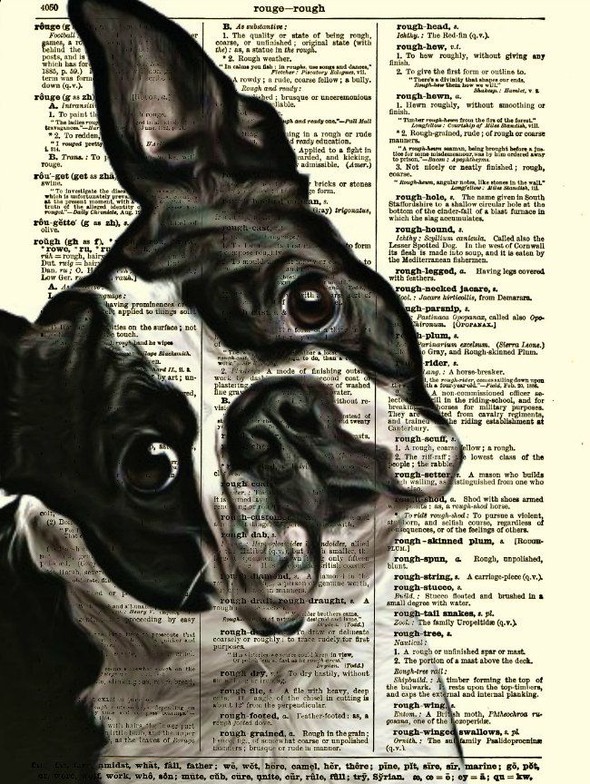 Boston Terrier Dictionary Art Print, Dog Print, Wall Decor, Art Print, Antique Dictionary Page Art, Home Decor. $10.00, via Etsy.