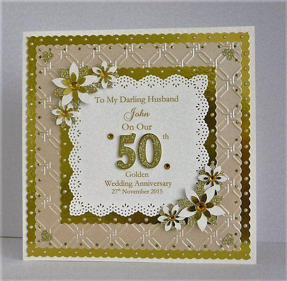 Golden 50th Wedding Anniversary Card For Wife Husband Mum Dad