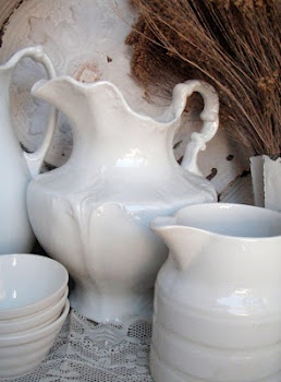 CABIN & COTTAGE IS NOW ON FACEBOOK!Decor, Summer Scene, Vintage Summer, Iron Stones, Cottages, White Dishes, Things, White Pitcher, White Ironstone