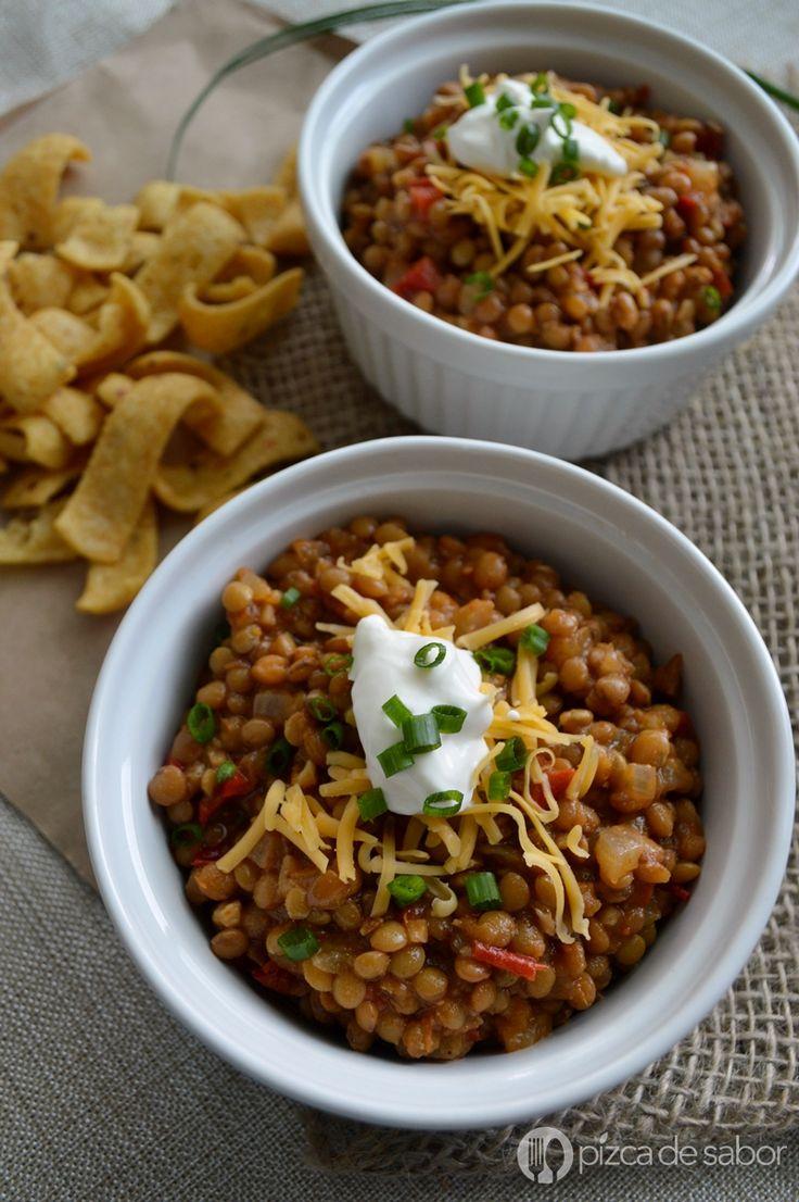 Chili de lentejas www.pizcadesabor.com