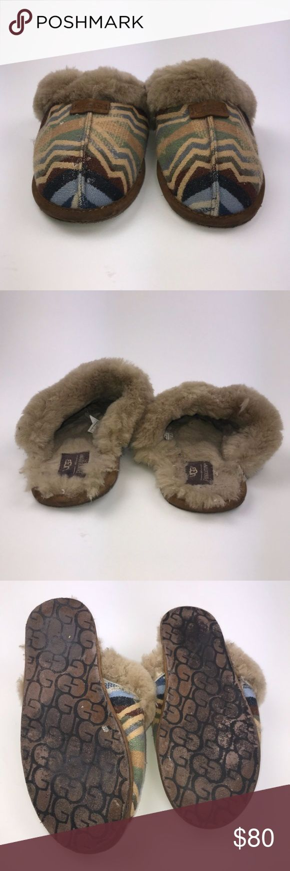 UGG Women's Scuffette Pendleton Fold Down Slippers UGG Australia Women's Pendleton Fold Down Slippers Multi-Colored Size 10 Pre-owned *Any defects or signs of wear are shown in images  PM583 UGG Shoes Slippers