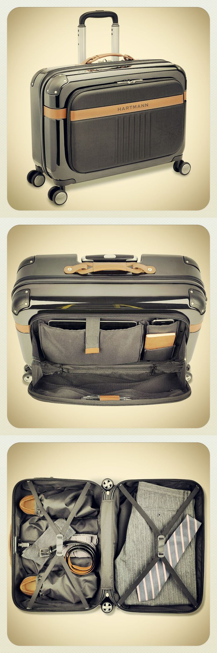 PC4 Expandable Garment Bag Spinner! Featuring dual interior compartments, shoe pockets, removable travel kit, and professional organizer.