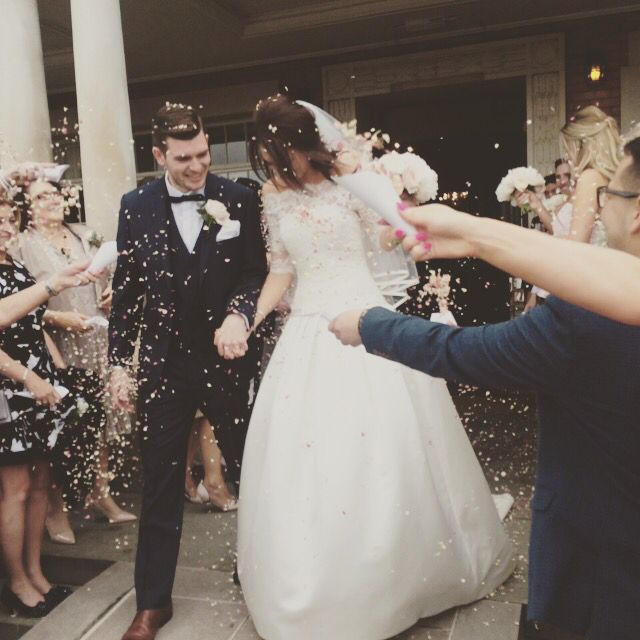 Our wedding day.   Pressed flower confetti from the wonderful Shropshire Petals.